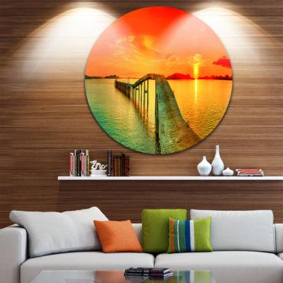 Design Art Fabulous Sunset Panorama Disc Photography Seascape Circle Metal Wall Art