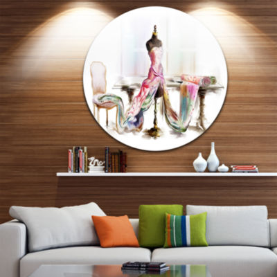Design Art Dressed Tabletop Mannequin Disc Large Contemporary Circle Metal Wall Arts