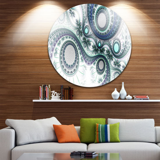 Design Art Colorful Fractal Clockwork Disc Abstract Circle Metal Wall Art