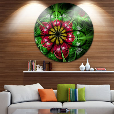 Design Art Dark Yellow and Green Flower Abstract Round Circle Metal Wall Decor Panel