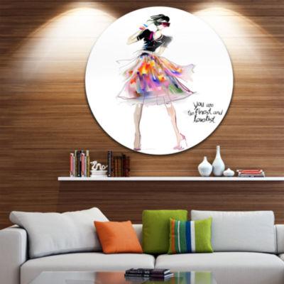 Design Art Colorful Pretty Fashion Girl Abstract Portrait Circle Metal Wall Art