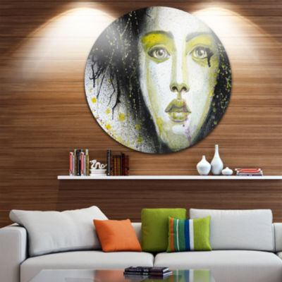 Design Art Girl with Yellow Eye Line Disc AbstractPortrait Circle Metal Wall Art