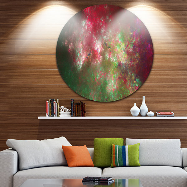 Design Art Colorful Starry Fractal Sky Abstract Round Circle Metal Wall Decor