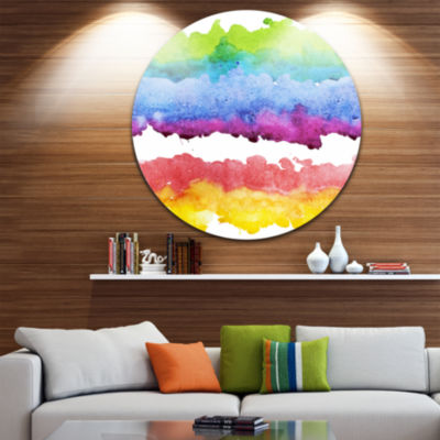 Design Art Colorful Stripes in Vector Pattern Abstract Metal Circle Wall Art