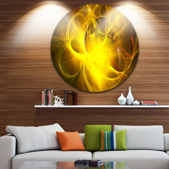 Design Art Dark Yellow Nebula Star Disc Abstract Circle Metal Wall Art