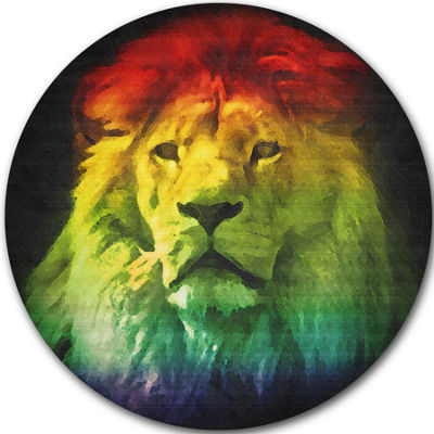 Design Art Colorful Lion Head Disc Animal Circle Metal Wall Art