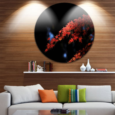 Design Art Fall Foliage of Maple Leaves Abstract Round Circle Metal Wall Decor