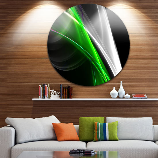 Design Art Fractal Lines Green White Abstract Circle Metal Wall Art