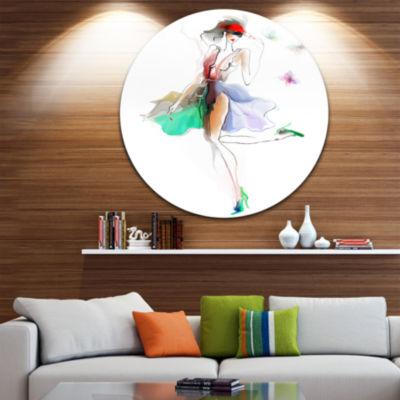 Design Art Fashion Girl in Multiple Colors Disc Portrait Circle Metal Wall Art