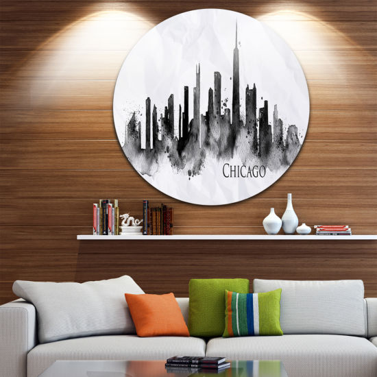 Design Art Chicago Black Silhouette Disc CityscapePainting Circle Metal Wall Art