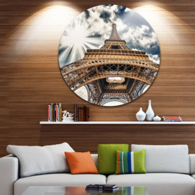 Design Art Fisheye View of Paris Eiffel Tower DiscCityscape Contemporary Circle Metal Wall Art