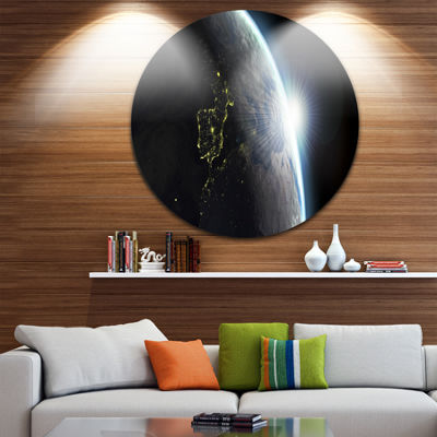 Design Art Earth View with Day and Night Effect Large Contemporary Circle Metal Wall Arts