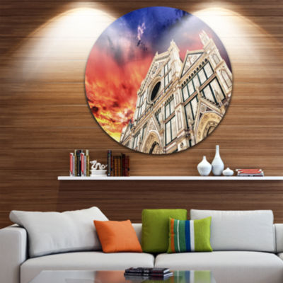 Design Art Cathedral of Santa Croce in Florence Disc Cityscape Photo Circle Metal Wall Art