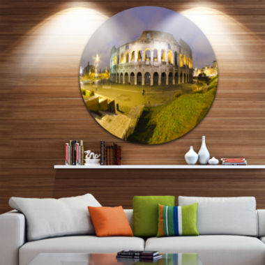 Design Art Colosseum by Night Disc Landscape Monumental Circle Metal Wall Art