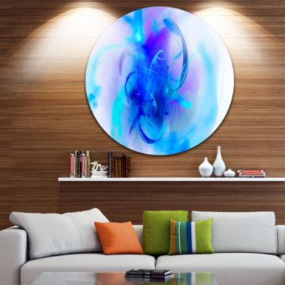 Design Art Fractal Blue 3D Art Floral Circle MetalWall Art