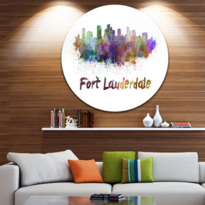 Design Art Fort Lauderdale Skyline Disc CityscapeMetal Artwork Print