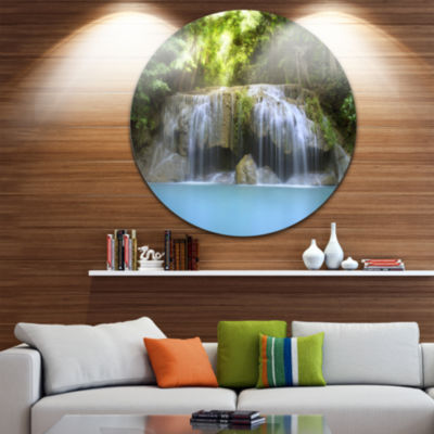 Design Art Erawan Waterfall Disc Photography Circle Metal Wall Art
