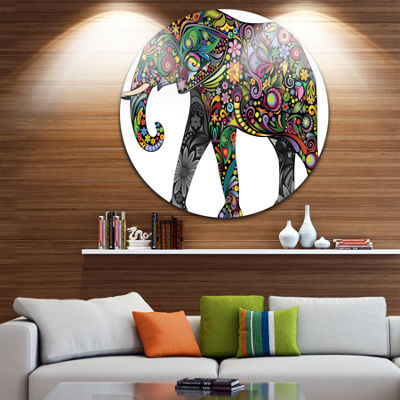 Design Art Floral Cheerful Elephant Disc Animal Circle Metal Wall Art