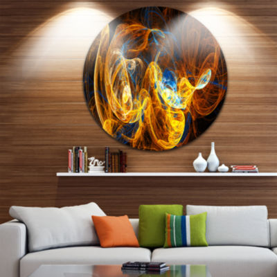 Design Art Fractal Smoke Texture Orange Abstract Circle Metal Wall Art