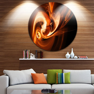Design Art Fractal Smoke Texture Brown Abstract Circle Metal Wall Art