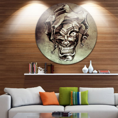 Design Art Fantasy Clown Joker Tattoo Sketch LargeContemporary Circle Metal Wall Arts