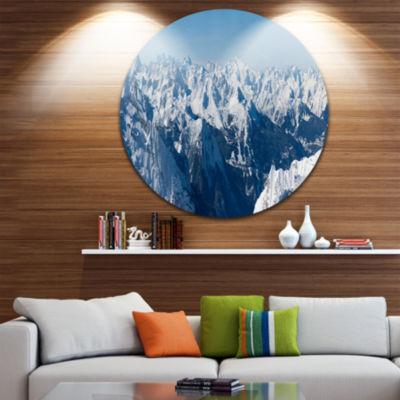 Design Art French Alps Panorama Photography CircleMetal Wall Art