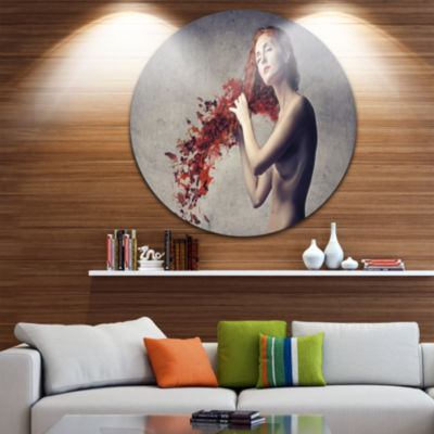 Design Art From Red Hair to Leaves Disc Contemporary Circle Metal Wall Art