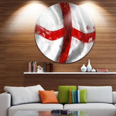 Design Art Flag of England Disc Contemporary Circle Metal Wall Art