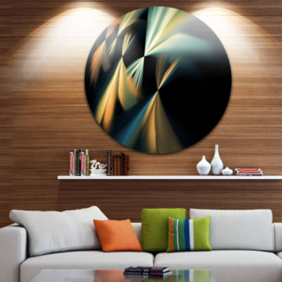 Design Art Floating Abstract Fractal Designs Abstract Art on Round Circle Metal Wall Decor Panel