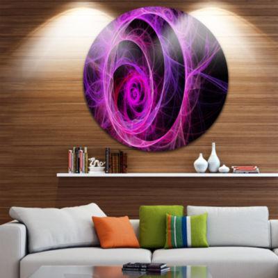 Design Art Exotic Pink Flower Disc Floral Circle Metal Wall Art
