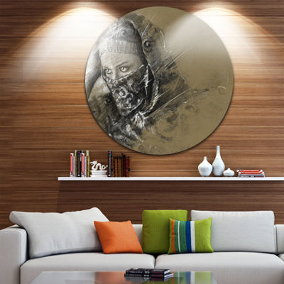 Design Art Exotic Arabic Woman Abstract Portrait Circle Metal Wall Art