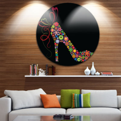 Design Art Colorful Shoe with a Bow Disc AbstractCircle Metal Wall Art