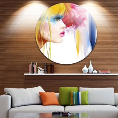 Design Art Girl with Colorful Hair Disc Portrait Circle Metal Wall Art