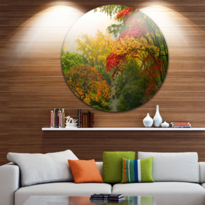 Design Art Colorful Maple Trees Disc Floral Photography Circle Metal Wall Art