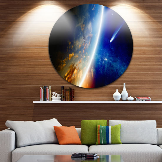 Design Art Comet Approaching Earth Spacescape Circle Metal Wall Art