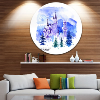 Design Art Germany Watercolor Landscape Disc Cityscape Painting Circle Metal Wall Art