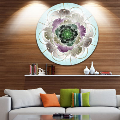 Design Art Dark Blue Fractal Flower Pattern Abstract Round Circle Metal Wall Decor Panel