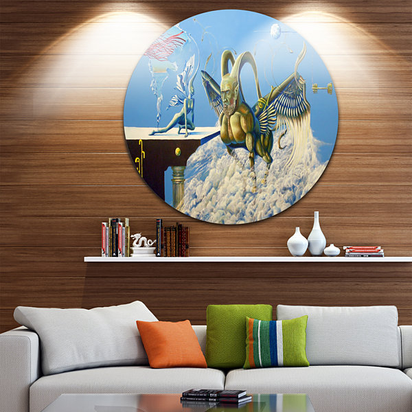 Design Art Cherubim Disc Abstract Portrait CircleMetal Wall Art