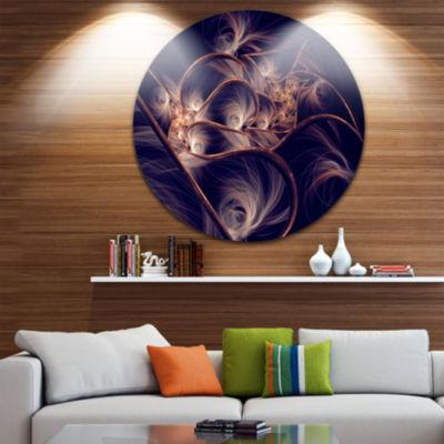 Design Art Dark Gold Fractal Flower Pattern Abstract Round Circle Metal Wall Decor