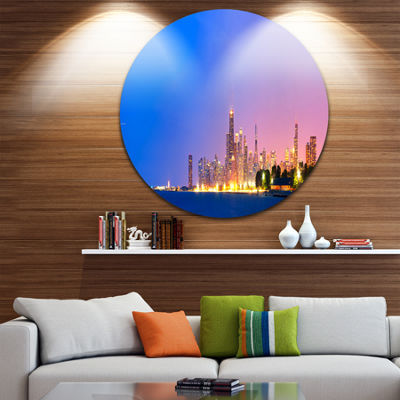 Design Art City of Chicago Skyline Disc CityscapePhoto Circle Metal Wall Art