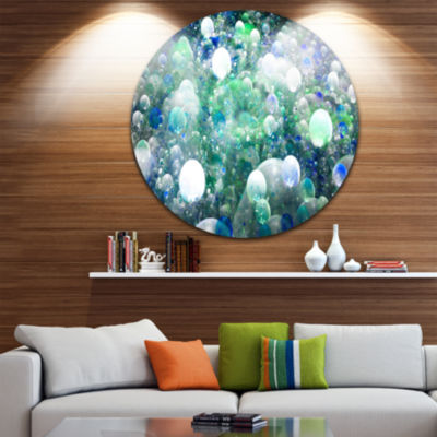 Design Art Colorful Molecules Fractal Design Abstract Round Circle Metal Wall Decor