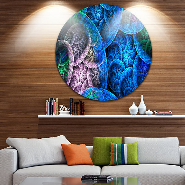 Design Art Dramatic Colorful Fractal Clouds Abstract Round Circle Metal Wall Decor