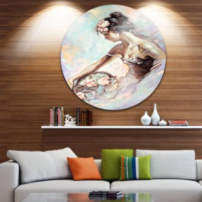 Design Art Girl with Flower Bouquet Floral CircleMetal Wall Art