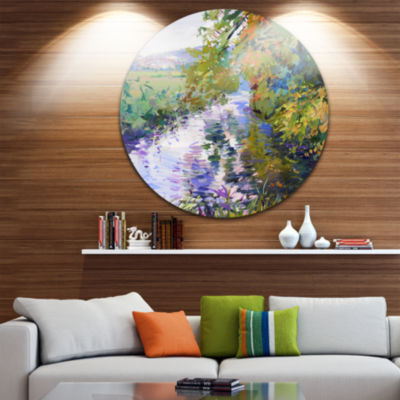 Design Art Fall in Amazing Colors Disc Landscape Painting Circle Metal Wall Art