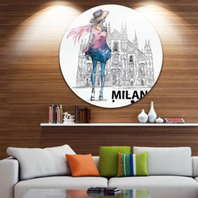Design Art Girl on a Milano Duomo Disc Contemporary Circle Metal Wall Art