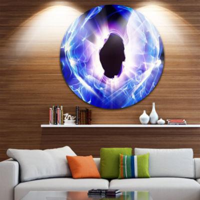 Design Art Fractal Blue Light Shine Disc AbstractCircle Metal Wall Art