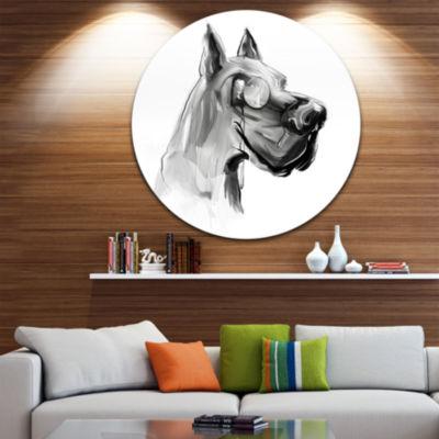 Design Art English Bulldog with Monocle Animal Circle Metal Wall Art