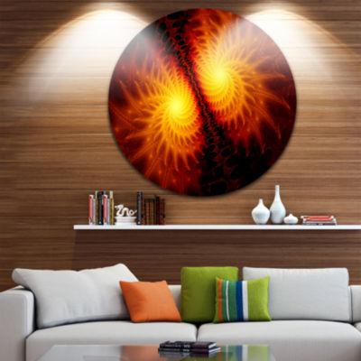 Design Art Fiery Wings of Dragon Abstract Circle Metal Wall Art