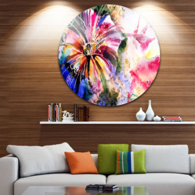 Design Art Flowers in a Collage Floral Metal Circle Wall Art