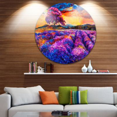 Design Art Colorful Lavender Fields Disc Photography Circle Metal Wall Art